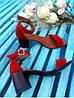 Босоножки на каблуке из натуральной замши красного цвета, фото 5