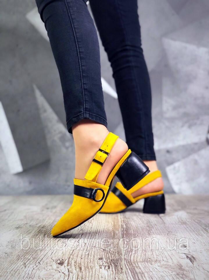 Женские туфли горчичный+черный на небольшом каблуке натуральная замша + кожа