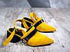 Женские туфли горчичный+черный на небольшом каблуке натуральная замша + кожа, фото 7