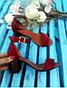 Босоножки на небольшом каблуке из натуральной замши бордового цвета ELEGANTE MARSALA SUEDE, фото 7