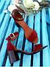 Босоножки на небольшом каблуке из натуральной замши бордового цвета ELEGANTE MARSALA SUEDE, фото 2