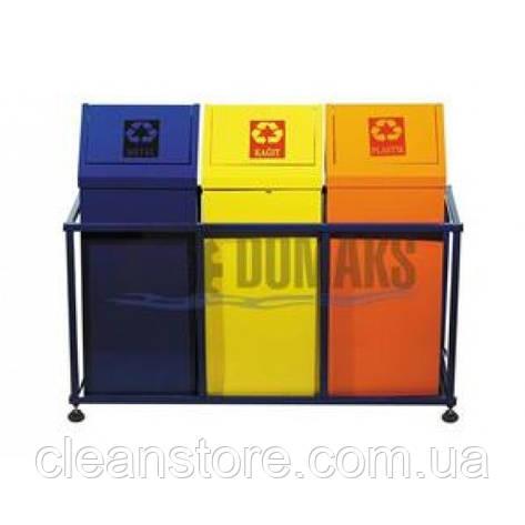 Урна для мусора , тройная, окрашенный метал, 3*54л, фото 2