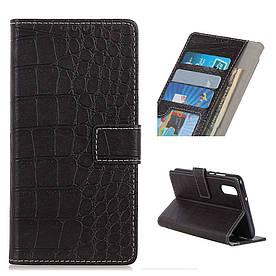 Чехол книжка для Samsung Galaxy A50 A505FD боковой с отсеком для визиток, Крокодиловая кожа, Черный