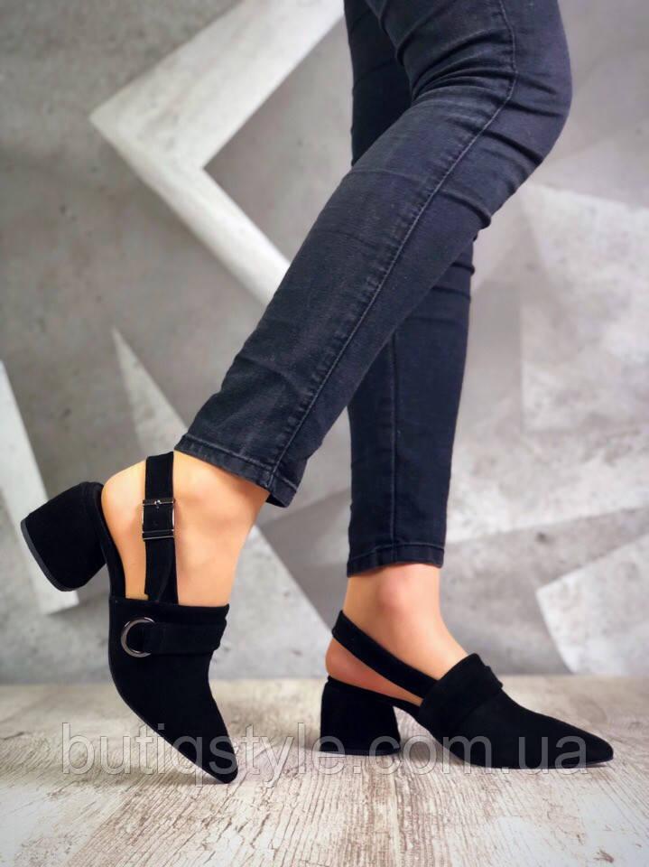 Женские черные туфли на небольшом каблуке натуральная замша