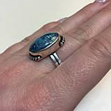 Кольцо хризоколла в серебре 18 размер. Кольцо с хризоколлой. Природная хризоколла Индия!, фото 5