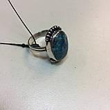 Кольцо хризоколла в серебре 18 размер. Кольцо с хризоколлой. Природная хризоколла Индия!, фото 6