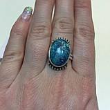 Кольцо хризоколла в серебре 18 размер. Кольцо с хризоколлой. Природная хризоколла Индия!, фото 2