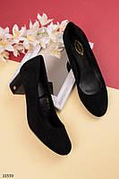 Туфли женские черные классика на маленьком каблуке 5,5 см эко-замш