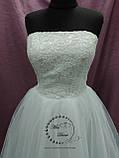 Короткое свадебное платье белое + кружевное болеро, фото 3