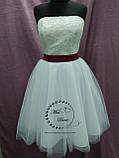 Короткое свадебное платье белое + кружевное болеро, фото 5