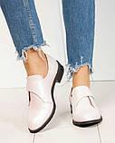 Шикарные кожаные женские туфли розовый перламутр, фото 7