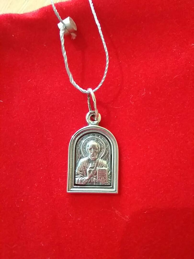 Серебряная иконка Св Николая Чудотворца 925 пробы