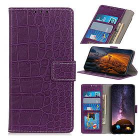 Чехол книжка для Samsung Galaxy A50 A505FD боковой с отсеком для визиток, Крокодиловая кожа, фиолетовый