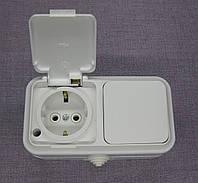 Блок розетка и выключатель влагозащищенная одинарная с крышкой
