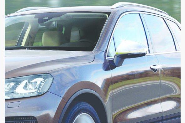 Накладки на зеркала (2 шт, нерж.) Volkswagen Touareg 2010-2018 гг.