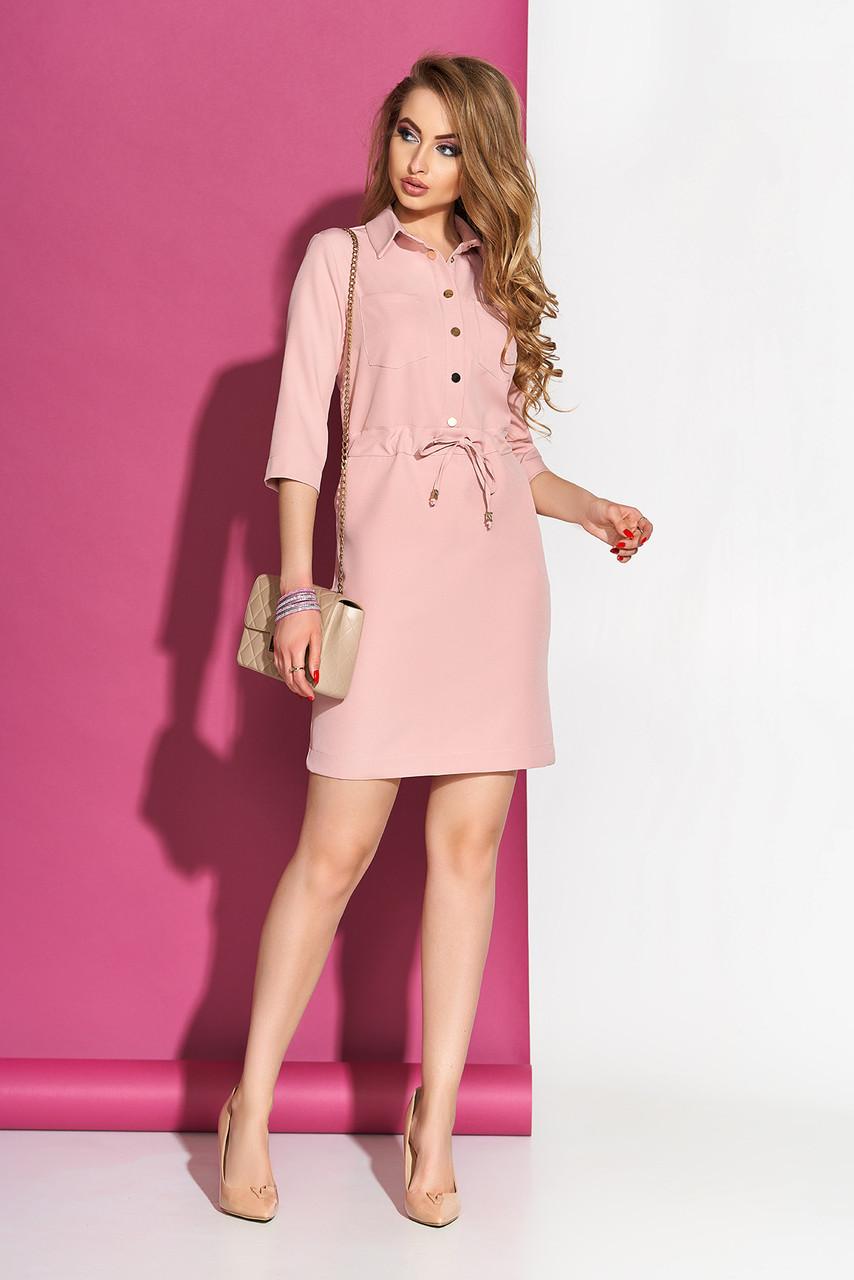 Модное платье мини свободное с поясом с воротником рукав три четверти цвет пудра