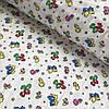 Фланель (байка) с разноцветными мишками на белом фоне