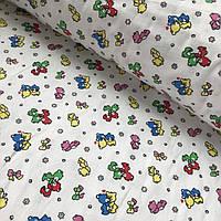 Фланель (байка) с разноцветными мишками на белом фоне, фото 1