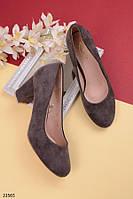 Женские туфли серые на удобном  каблуке 8 см эко-замша