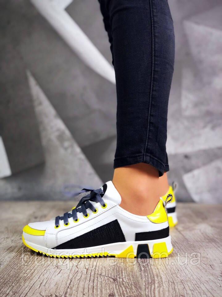 38 размер! Женские кроссовки WiFi черные с белым и желтым на танкетке, натуральная кожа