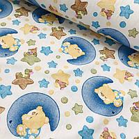 Фланель (байка) с мишками на месяце и звездами, ширина 180 см
