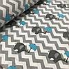Фланель (байка)  с серыми зигзагами и слониками с голубым зонтиком, ширина 180 см