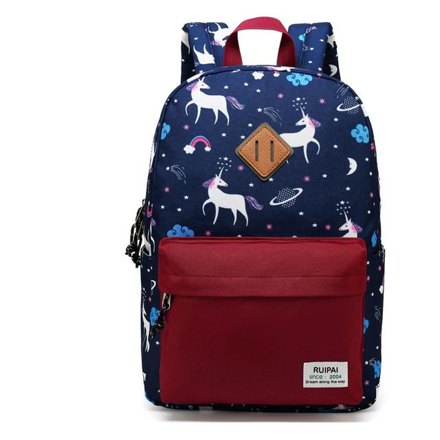 Синий школьный рюкзак с единорогами