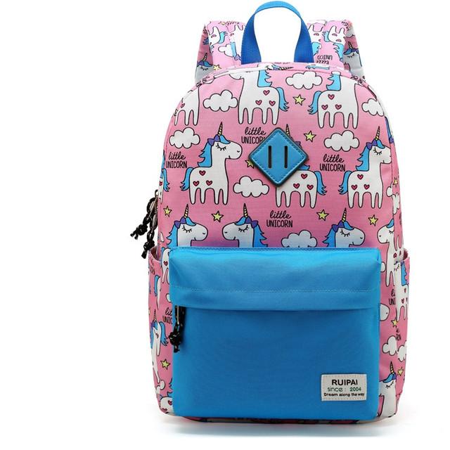 Розовый школьный рюкзак с единорогами