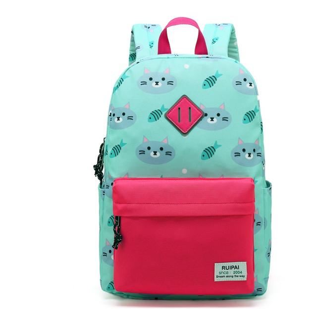 Мятный школьный рюкзак с котиками