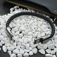 Кожаный USB браслет с металлической застежкой | Andrid и IOS