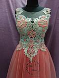 Вечернее выпускное платье-трансформер (со съемной юбкой) коралловое с золотым, фото 4