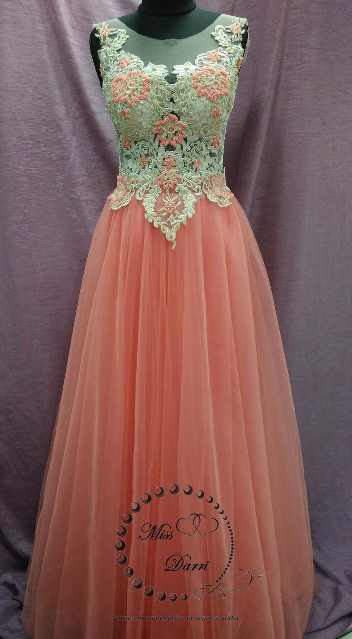Вечернее выпускное платье-трансформер (со съемной юбкой) коралловое с золотым