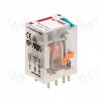 Реле 2 CO, 12А, 230VAC c LED-индикатором