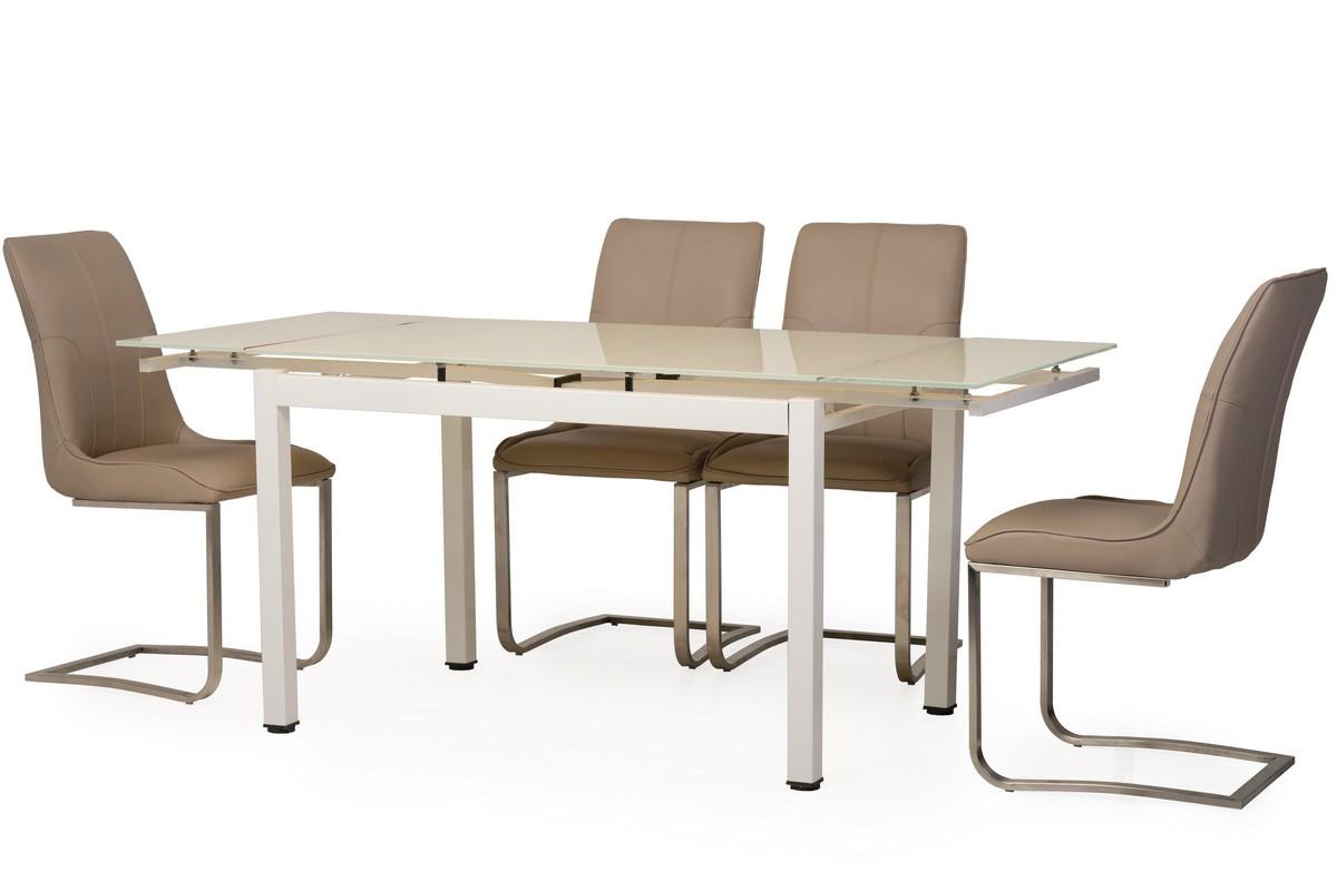 Раздвижной стол Т-231-3 кремовый Vetro Mebel, стекло (120-180)*80*75(H)