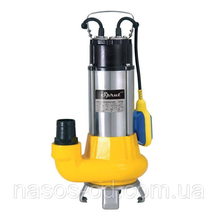 Дренажно-фекальный насос Sprut V1100 1.2кВт Hmax12м Qmax400л/мин для выгребной ямы