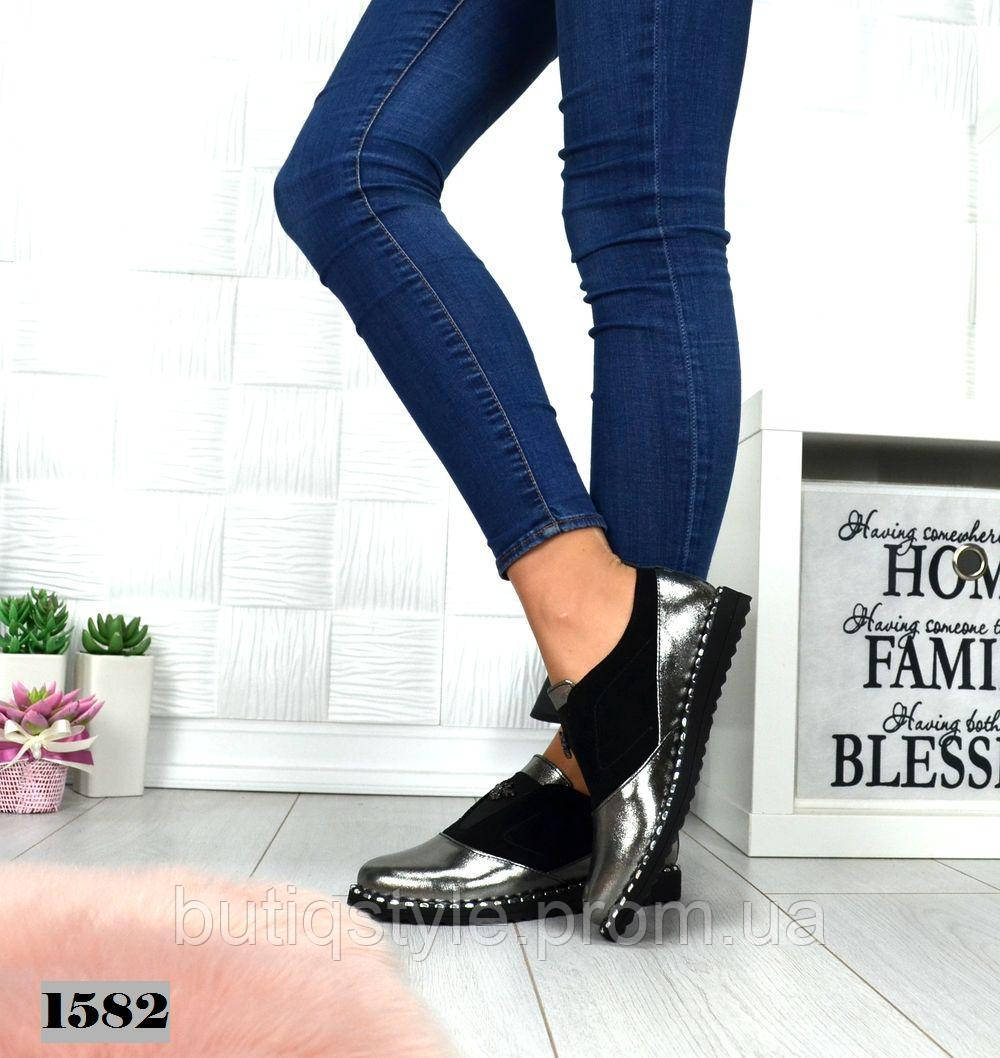 Женские туфли FLY никель натуральная кожа+замша на низком ходу, 2019