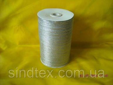 Лента парча 0,3 см. серебро