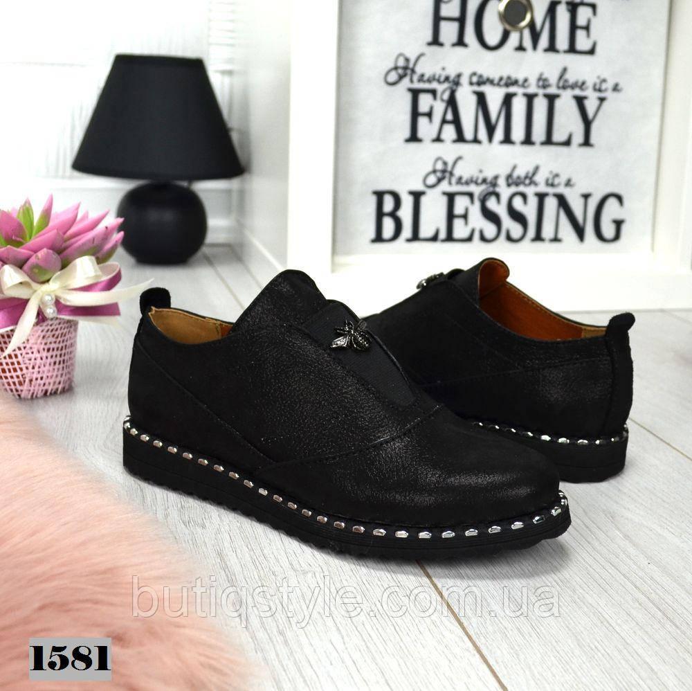 Женские туфли черные  FLY на низком ходу натуральная кожа сатин
