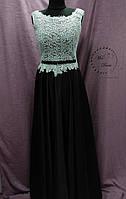 Вечернее выпускное платье черное с серебром