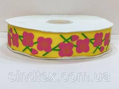 Лента репс с орнаментом 1 см. № 742/132 цветочки