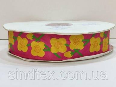 Лента репс с орнаментом 1 см. № 742/28 цветочки