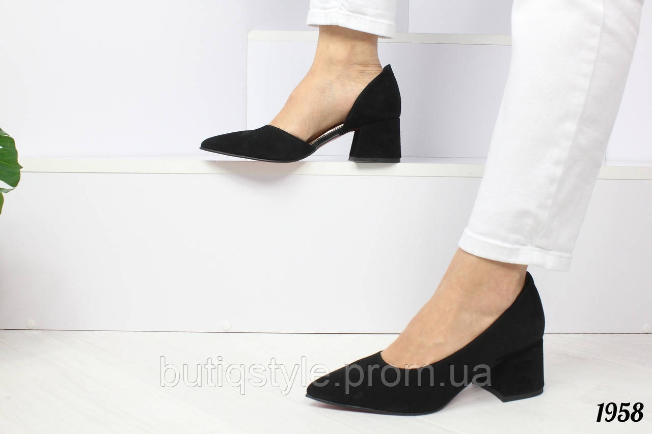 Женские черные туфли Valency на небольшом каблуке натуральная замша