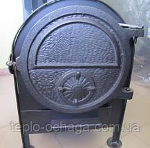 Печка для бани малая с круглой сеткой, вынос топки, фото 3