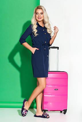 Демисезонное платье выше колен свободного кроя пояс с воротником рукав три четверти темно синее, фото 2