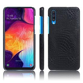Чехол накладка для Samsung Galaxy A50 A505FD с кожаной поверхностью, Крокодиловая кожа, черный