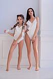 Купальник сдельный мама+дочка бифлекс рубчик персик мята белый размеры:с,м,л, 134-140,146-152 см, фото 2