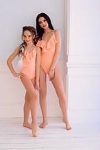 Купальник відрядний мама+донька біфлекс рубчик персик м'ята білий розміри:з,м,л, 134-140,146-152 см
