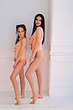 Купальник сдельный мама+дочка бифлекс рубчик персик мята белый размеры:с,м,л, 134-140,146-152 см, фото 5