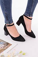 Туфли женские черные классические на маленьком каблуке 6 см эко замша