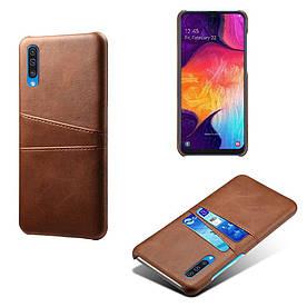 Чехол накладка для Samsung Galaxy A50 A505FD с кожаной поверхностью и отсеком для визиток, коричневый
